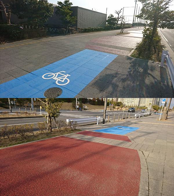 """""""赤い""""自転車通行帯"""